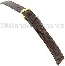 18mm Hirsch Rainbow Light Brown Genuine Leather Lizard Grain Watch Band Long