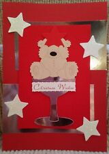 Luxury Handmade Personalised Large A4 CHRISTMAS CARD Teddy in Champagne Glass
