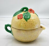 Vintage Handpainted Lusterware Made in Japan Lemon and Flowers Teapot