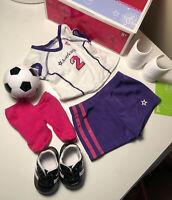 American Girl Soccer Outfit II 2 Cleats Ball Shin Guards Jersey Shirt Shorts