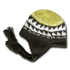 Brown & Yellow Peruvian Beanie Cap Hat Winter Braided Ear Flap Chullo Warm Hats