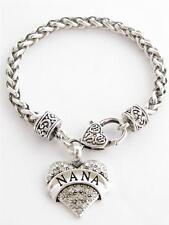 Nana Grandma Grandmother Silver Lobster Claw Bracelet  Heart Jewelry
