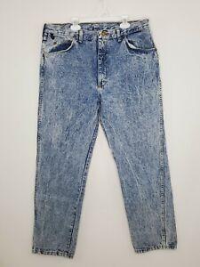 Vintage Wrangler Acid Stone Wash Denim Jeans Mens 36x30 Blue