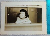 Small Girl Smiling  BW Photo Puerto Rico Rican  December 1956 3.5 x 5