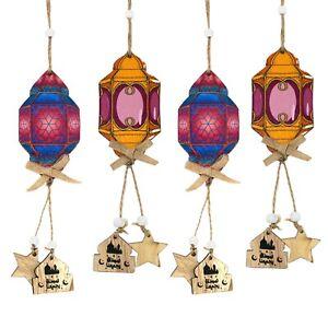 Set of 4 Purple & Blue Wooden Eid Ramadan Islamic Lantern Hanging Decorations