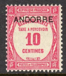 Andorra, French Administration Scott #J10 F/VF Unused 1927-31 10 C Postage Due