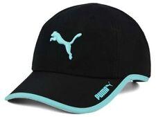 PUMA Women's Greta Lightweight Adjustable Cat Logo Black / Aqua Runners Cap Hat