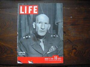 1945 Life Magazine March 12 WWII Simpson Iwo Jima Atolls Rhine FDR Sinatra Hope