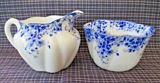 Shelley Bone China Dainty Blue Creamer & Open Sugar Bowl-Mini-Excellent-051/28