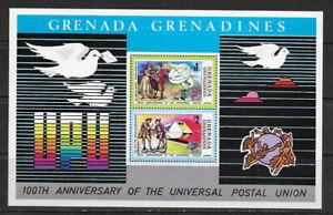 GRENADA GRENADINES , 1974 , UPU CENTENARY ,  SOUVENIR SHEET PERF , MNH