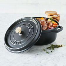 Staub Cast Iron 4-qt Round Cocotte Dutch Oven Pot w/Lid Matte Black New