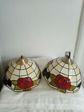 PAIR OF BEAUTIFUL TIFFANY STYLE TABLE LAMPS CREAM & RED GLASS SHADE