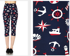 Nautical Print Peach Skin Feel Capri Leggings One Size fits 2-16