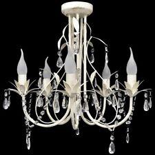vidaXL Kroonluchter 5 Lampen Kristal Wit Hanglamp Lamp Plafond Verlichting