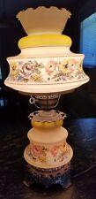 1973 QUOIZEL HURRICANE LIGHT LAMP yellow flowers 1961 4 1/8