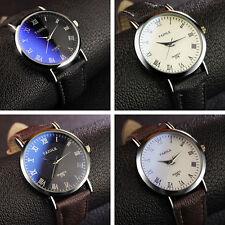 Luxus Armband Uhr Armbanduhr Faux Leder Edelstahl Herrenuhr Analog Quartz