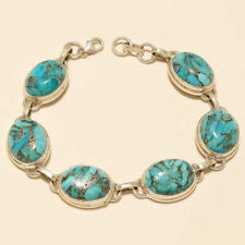 Natural Mexican Blue Copper Turquoise Bracelet 925 Sterling Silver Fine Jewelry