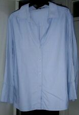 JAEGER A TONES OF BLUE SHIRT BLOUSE WITH LONG SLEEVES-V NECK & COLLAR UK 18
