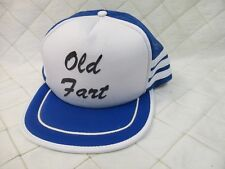Old Fart Snapback Trucker Hat Blue and White 3 Stripes Vintage