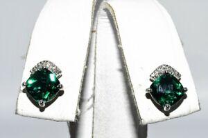 2.10CT CHECKERBOARD CUSHION CUT EMERALD & DIAMOND ARCH CLUSTER EARRINGS 10K