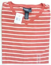 NWT RALPH LAUREN MEN STRIPED T-SHIRT V-NECK SHORT SLEEVE $55 - RED/CREAM - SMALL