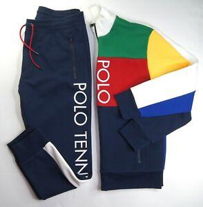 POLO RALPH LAUREN Big & Tall Navy Multi Colorblock Polo Tennis Mesh Tracksuit