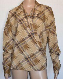 NWT Lauren Ralph Lauren Beige Plaid Long Sleeve Wrap Blouse Size M