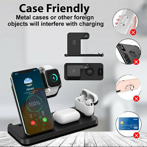 For Apple AirPods, Watch, iPhone 4 in 1 Wireless Charging Station Charging Stand