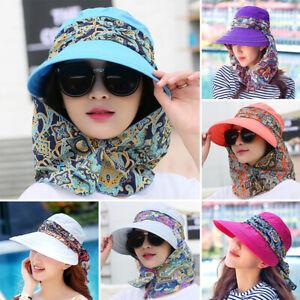 Women Ladies Summer Wide Brim Hat Protective Visor Anti-UV Cap Foldable Sun Hats
