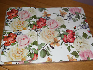 Antique FLOWERS 4 Placemats and 4 Coasters Set CORK BACKED Lacquer Finish