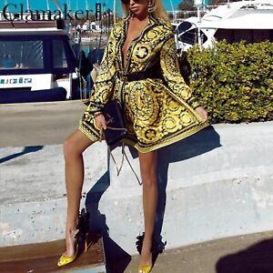 Baroque Victorian Italian Medusa Pattern Gold Black Vintage Style Dress
