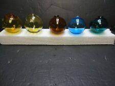 Vintage Lot of 5 Glass Fishing Floats -.Light and Dark Amber, Green and Blue