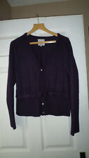 Mistral Purple Wool blend Cardigan Size 16, bow , mother of pearls buttons