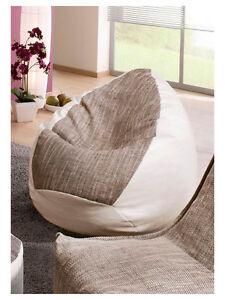 """Sitzsack"""" von Lux """" XL ca.380 Liter Lederimitat weiß Strukturstoff creme Lounge"""