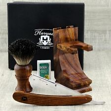 Wooden Shaving Set For Men's With Black Badger Hair Brush & Round Straight Razor