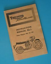 1950's-60's Original Triumph Motorcycle Service Instruction Manual Book 3TA