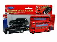 London Double Decker Bus and Black Taxi Cars Pull Back  Kids Toy Gift Age 3