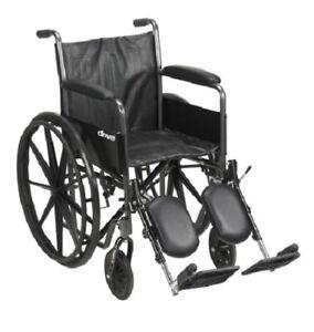 "18"" Wheelchair, Steel Frame, Black, Fixed Arm, Swing Away Elevating Leg Rest"