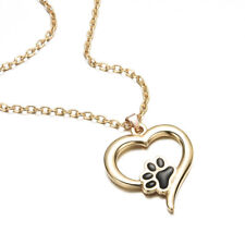 New Silver Pet Lover Necklace Puppy Dog Cat Paw Print Pendant Heart Chain Xmas