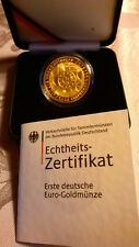 """100 Euro Goldmünze Deutschland 2002  Währungsunion - Einführung des Euro -  """"J"""""""