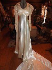 1930's Ecru French Net Lace & Ivory Satin Bias Cut Wedding Gown Dress to Restore