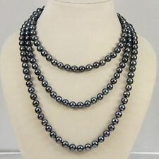 """Cultured Pearl Necklace 50"""" New 7-8mm Black real akoya"""