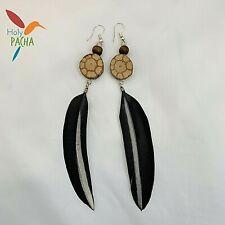 "Shipibo Ayahuasca & Black Natural Feather Earrings   Aprox. 6"""