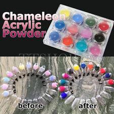 12 Pots Chameleon Nail Art 3D Acrylic Powder Themal Color Change Pigment Dust