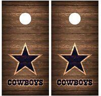 Dallas Cowboys Vintage Wood Cornhole Board Decal Wrap Wraps (brown)