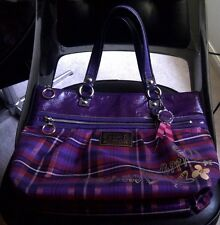 AUTHENTIC COACH POPPY TARTAN PLAID GLAM LARGE TOTE PURSE 15886 PURPLE $378