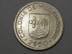 AU 1935 Silver 2½ Escudos Coin of Portuguese Mozambique.  #53