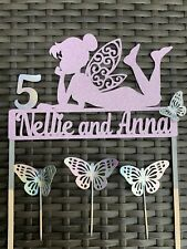 Disney Tinker Bell Fairy Butterfly Cake Topper Set Customise Name Age Colour