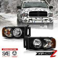 2002-2005 Dodge Ram 1500 2500 3500 HARLEY STYLE Pair Black Headlights Headlamps