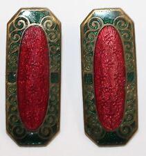 Set of 2 Antique Rectangular Guilloche Enamel Cloisonne Converted Buttons RARE
